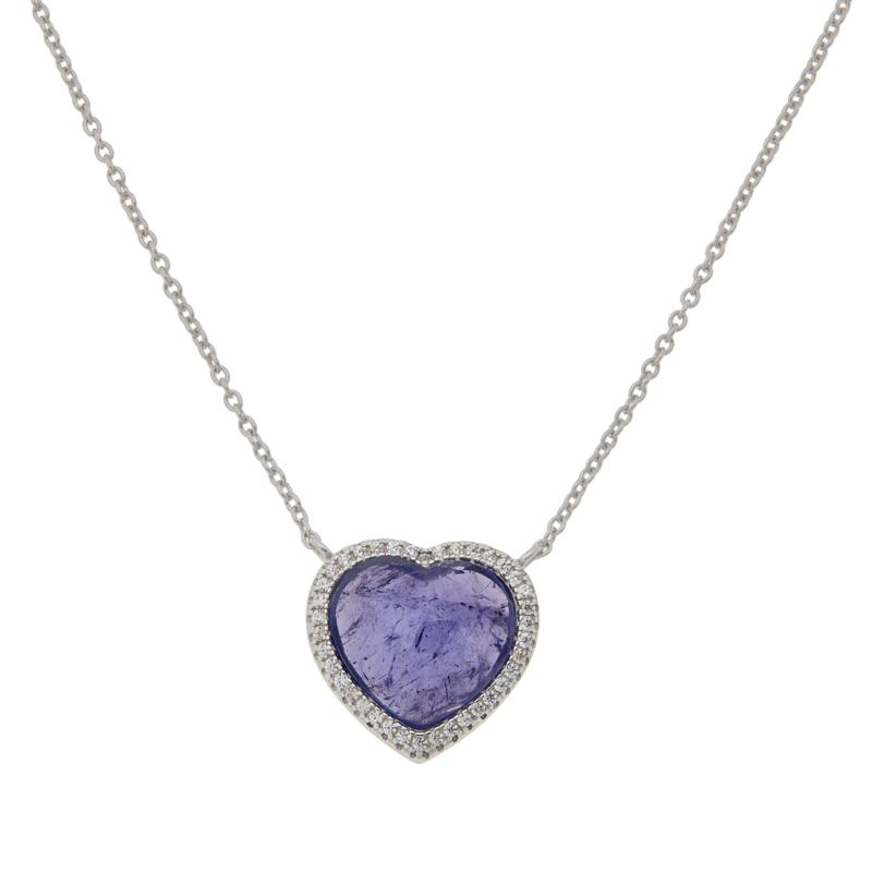 Colleen Lopez Sterling Silver Heart Gemstone and White Zircon Necklace