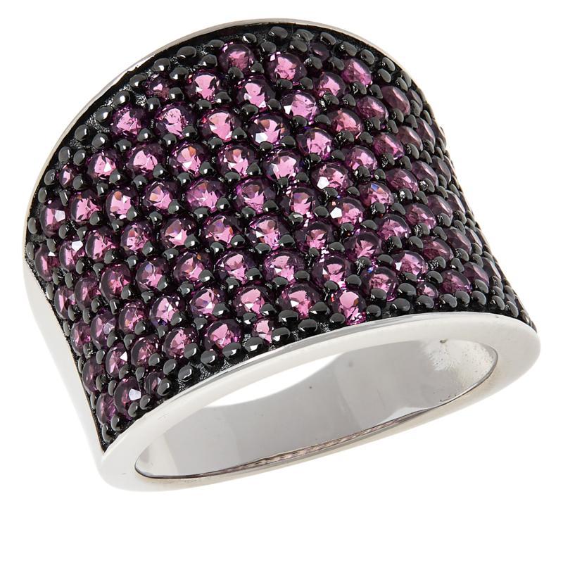 Colleen Lopez Sterling Silver Pavé Rhodolite Scoop Ring