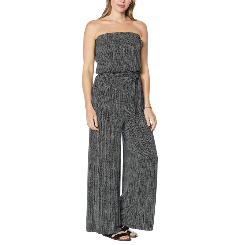 Colleen Lopez Striped Knit Strapless Jumpsuit