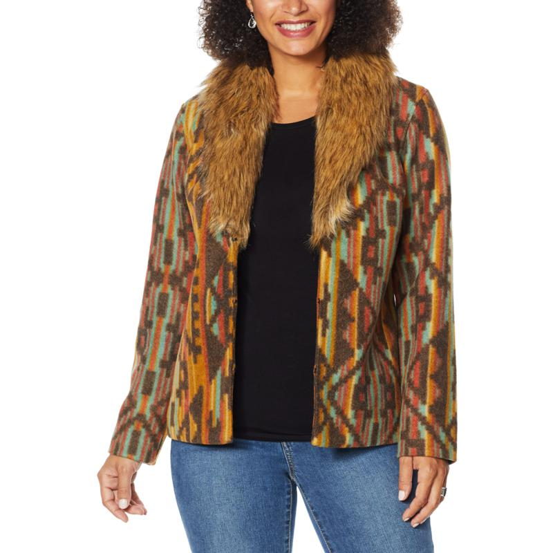 Colleen Lopez Wool-Blend Coat with Faux Fur Collar