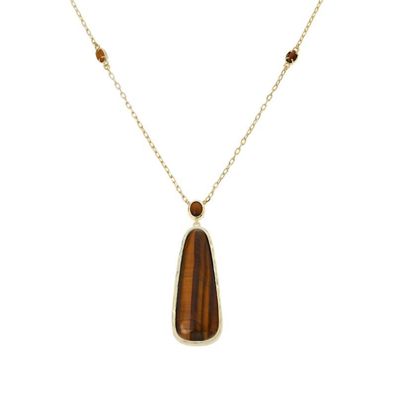 Connie Craig Carroll Jewelry Ella Gemstone Elongated Hammered Necklace