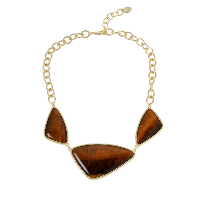 "Connie Craig Carroll Jewelry Liz 17-1/2"" Tiger's Eye Station Necklace"