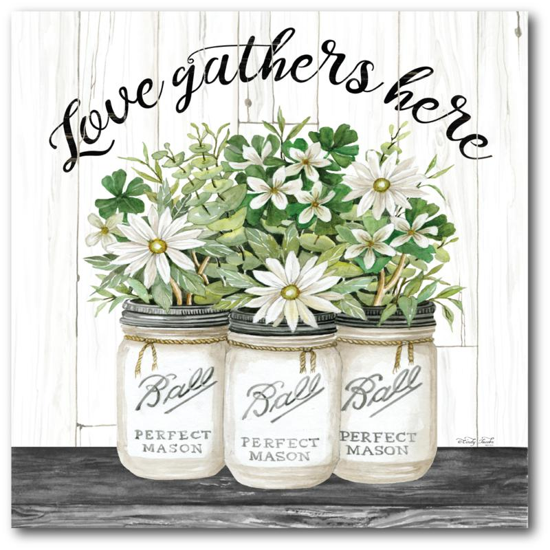 Courtside Market Love Gathers Here 16 x 16 Canvas Wall Art