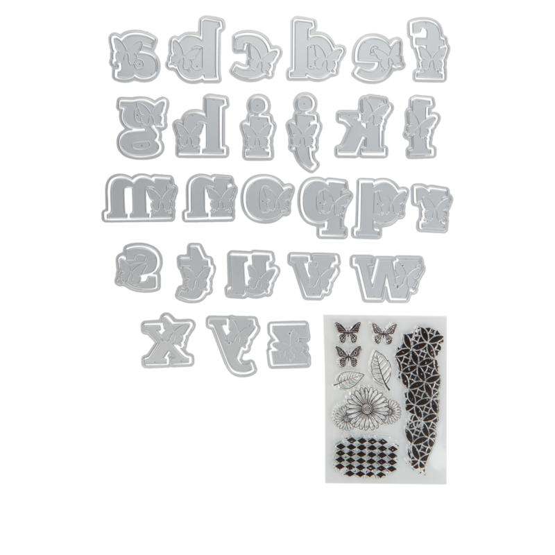Crafter's Companion Gemini Butterfly Lowercase Alphabet Stamps & Dies