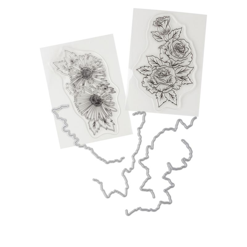 Crafter's Companion Gemini Rose and Gerbera Spray Stamp and Die Set
