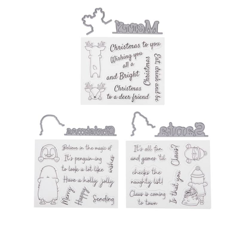 Crafter's Companion Santa's Grotto Christmas Peek-A-Boo Stamp/Die Set