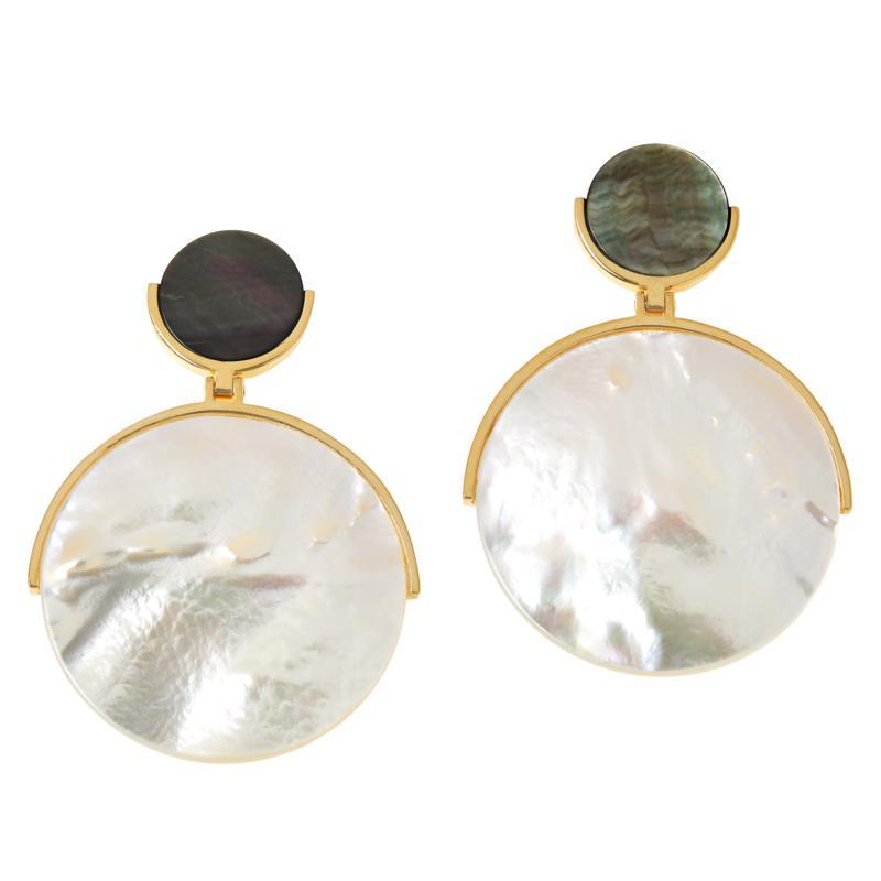 Cristina Sabatini Gold-Tone Mother-of-Pearl or Abalone Disc Earrings