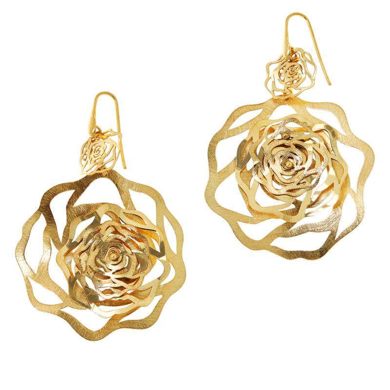 Cristina Sabatini Gold-Tone Sterling Silver Rose Drop Earrings