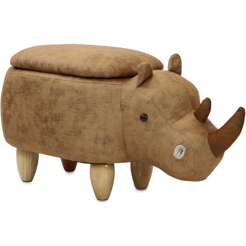 "Critter Sitters 15"" Plush Animal Storage Ottoman - Rhinoceros"
