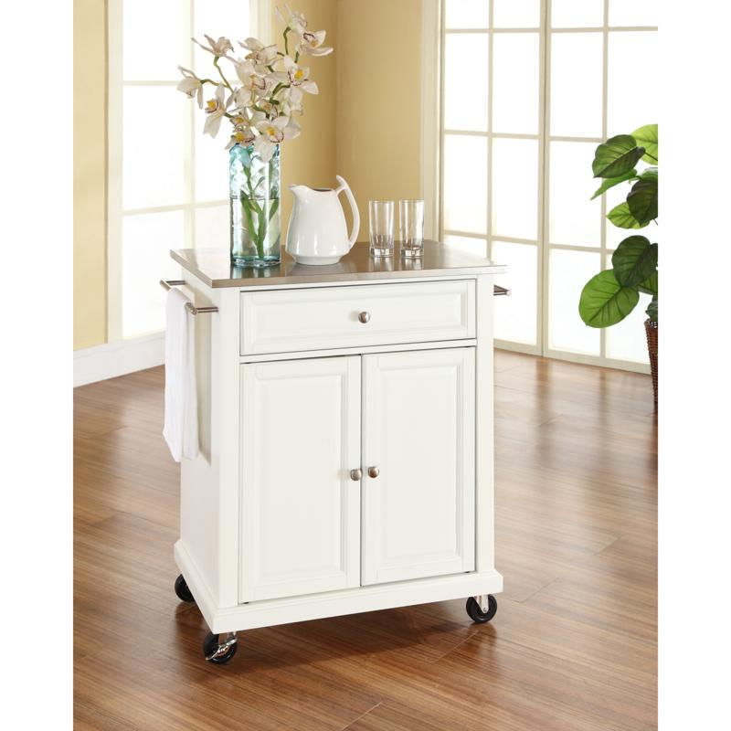 Crosley Stainless Steel Top Portable Kitchen Cart White 7743739 Hsn