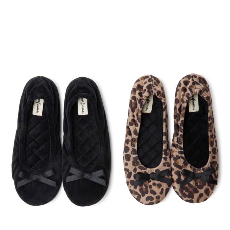 Women/'s Black Dearfoam Plush Ballerina Slippers Small