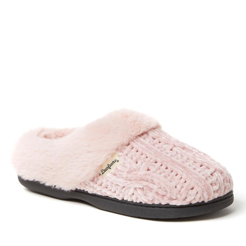 Dearfoams Women's Marled Cable Knit Chenille Clog - Wide