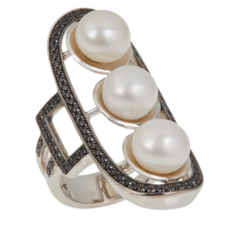 Deb Guyot Studio Cultured Pearl and Black Spinel Statement Ring