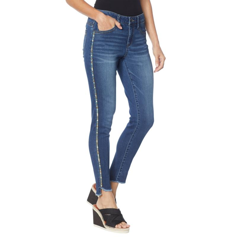 """Democracy """"Ab""""solution® Striped Outseam Slim Ankle Jean"""