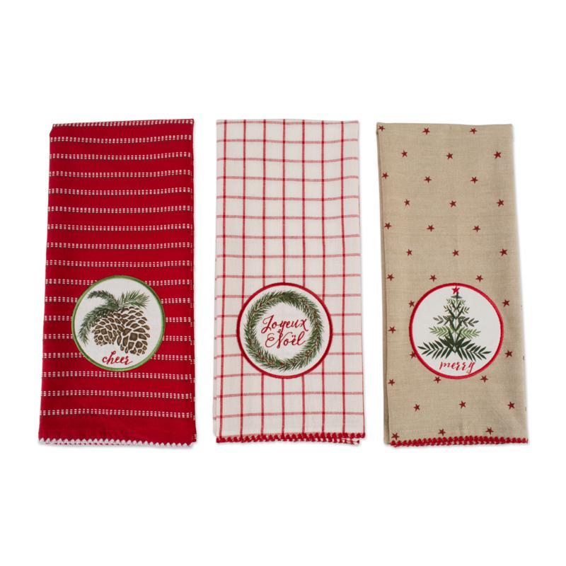 Design Imports Assorted Noel Kitchen Towel Set of 3