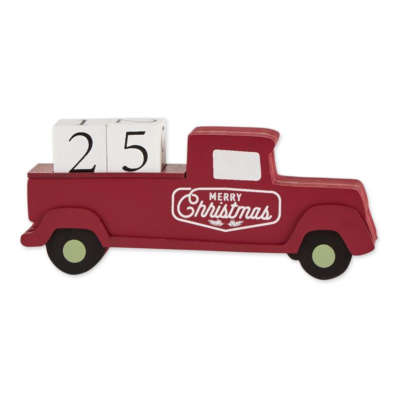 Design Imports Christmas Tree Truck Tabletop Block Calendar