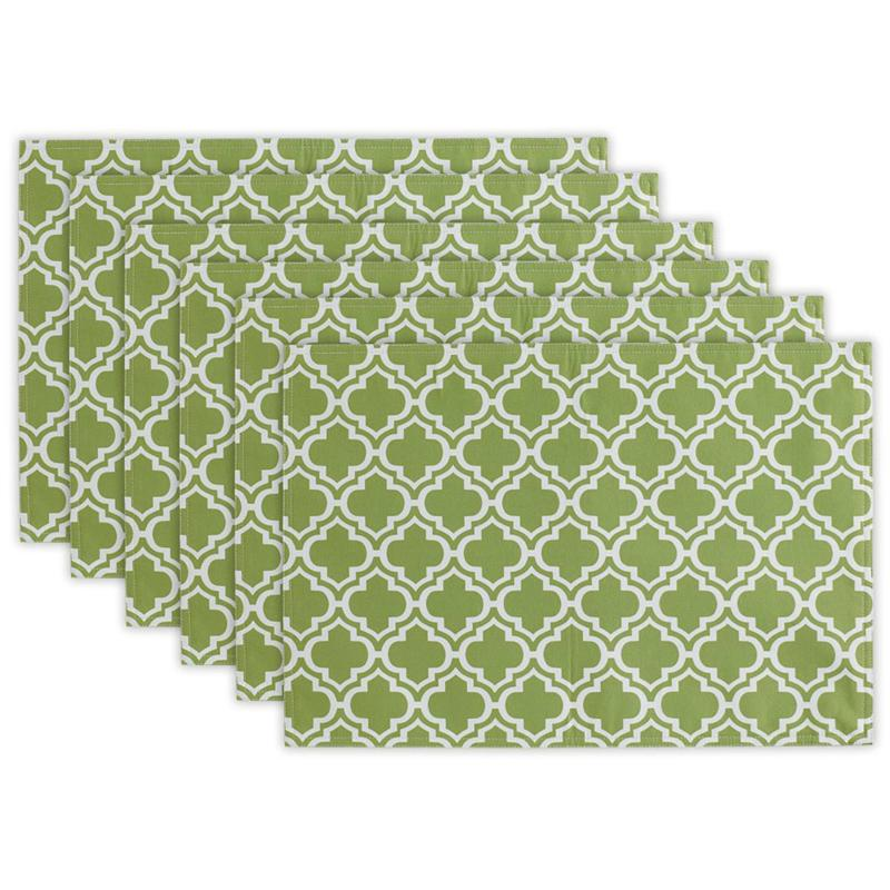 Design Imports Lattice Print Outdoor Placemat Set of 6