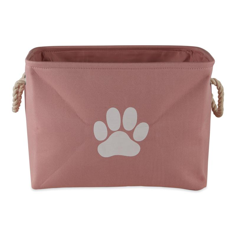 Design Imports Polyester Rectangle Solid Pet Bin w/ Paw Patch Small