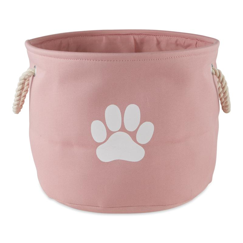 Design Imports Polyester Round Solid Pet Bin w/ Paw Patch Small
