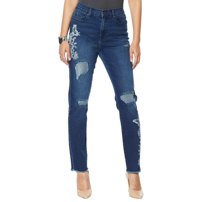 DG2 by Diane Gilman Classic Stretch Printed Jean with Faux Pearls