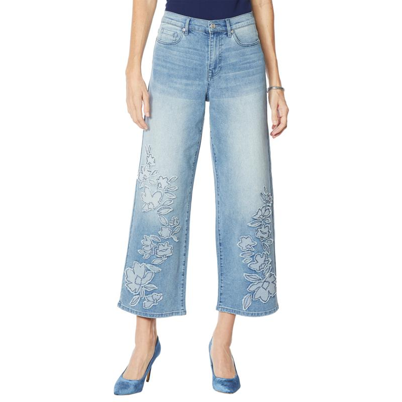 DG2 by Diane Gilman Embroidered and Frayed Wide-Leg Jean - Basic