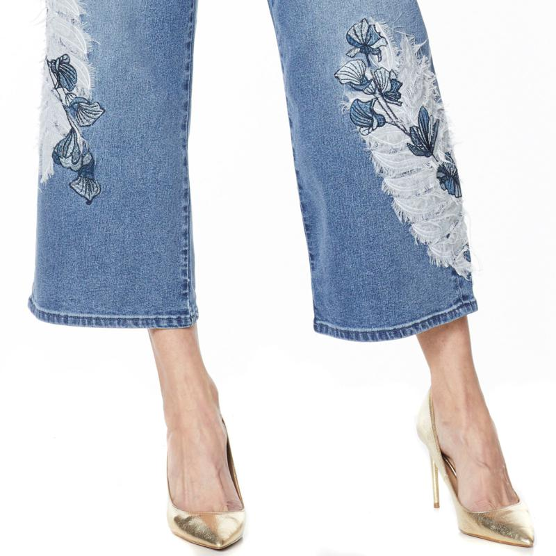 DG2 Diane Gilman Embroidered Cropped Wide-Leg Jean CHAMBRAY 12 NEW 696-858