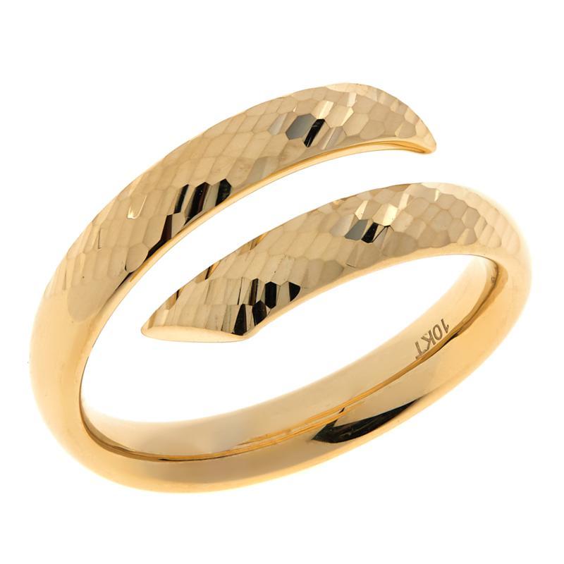 Dieci  10K Gold Diamond-Cut Striped Bypass Ring