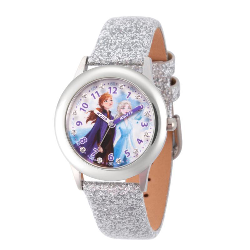 Disney Frozen 2 Elsa & Anna Kids' Glitz Watch with White Glitter Strap