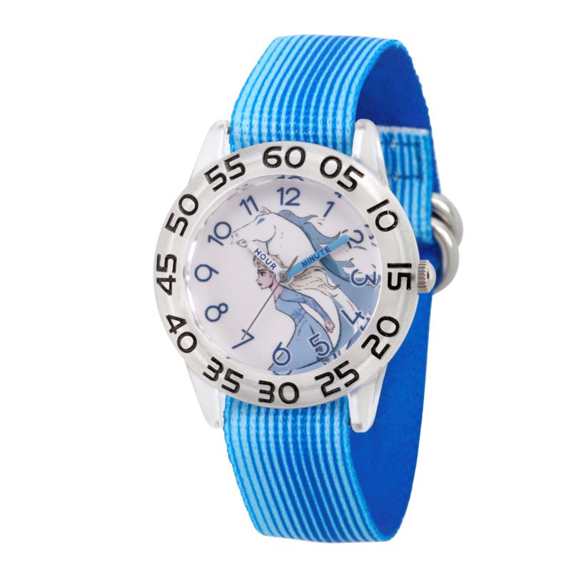 Disney Frozen 2 Elsa Kids' Clear Watch with Blue Stripe Strap