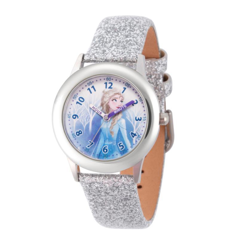Disney Frozen 2 Elsa Kids' Stainless Steel Leather Glitter Watch