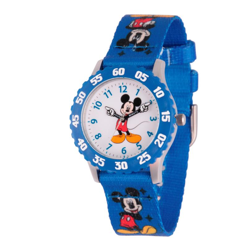 Disney Mickey Mouse Kid's Time Teacher Watch w/ Blue Printed Strap