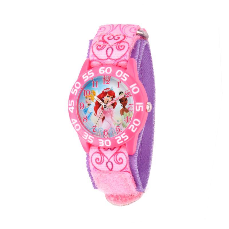 Disney Princess Kid's Pink Time Teacher Watch w/ Printed Stretch St...