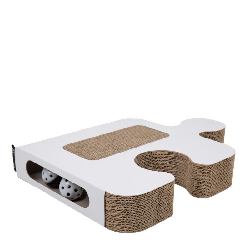 District 70 Puzzle Cardboard Cat Scratcher - White