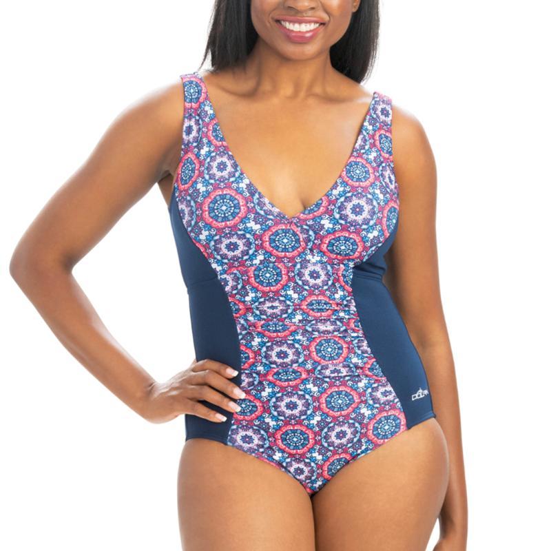 Dolfin Aquashape Mosaic-Print Front Panel One-Piece Swimsuit