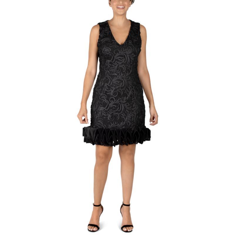 Donna Ricco Ruffle Hem V-Neck Black Cocktail Dress
