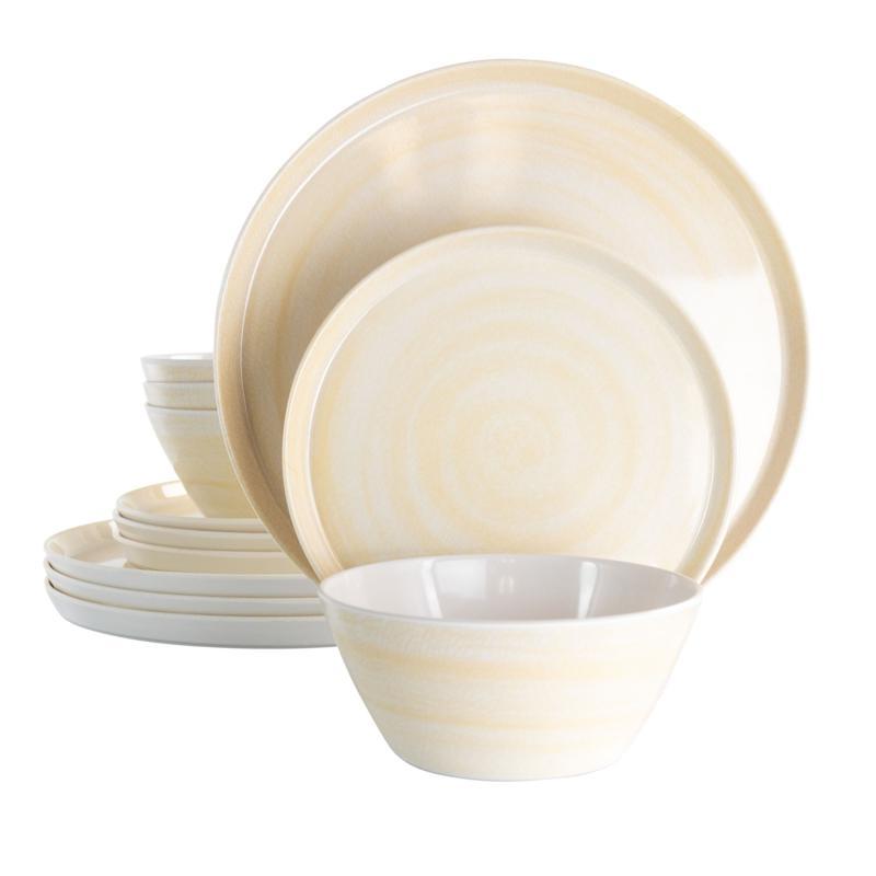 Elama Crafted Clay 12-Piece Lightweight Melamine Dinnerware Set-Cream