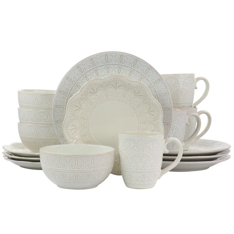 Elama White Lace 16 Piece Round Scallop Stoneware Dinnerware Set in...