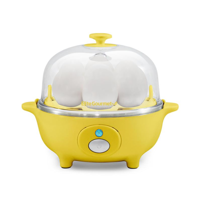 Elite Cuisine Yellow Automatic Easy Egg Cooker