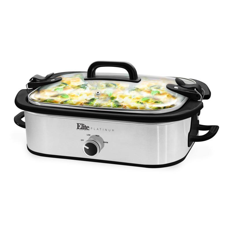 Elite Gourmet 3.5-Qt. Casserole Slow Cooker w/ Locking Lid
