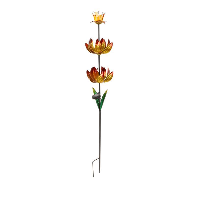 Exhart Solar Triple Lotus Spinner Garden Stake