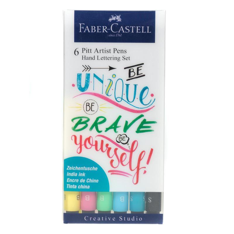 Faber-Castell Pitt Artist Pen Hand Lettering Wallet Set of 6 Version 1