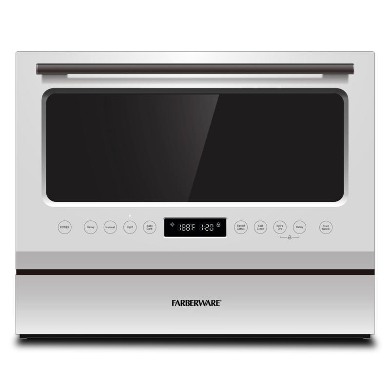 Farberware Professional 6pc Countertop Dishwasher, Glass Door/White