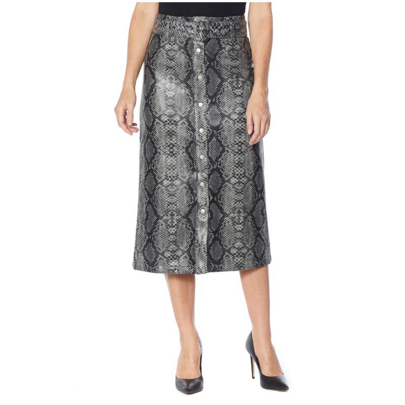 G by Giuliana Black Label Faux Snakeskin A-Line Skirt