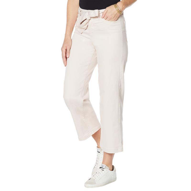 G by Giuliana Wide-Leg Cropped Jean with Belt