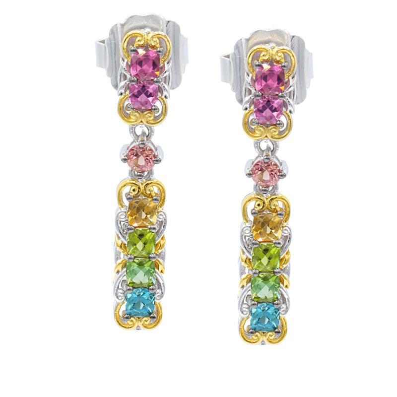 Gems by Michael 18K Goldtone Multi-Color Tourmaline Dangle Earrings