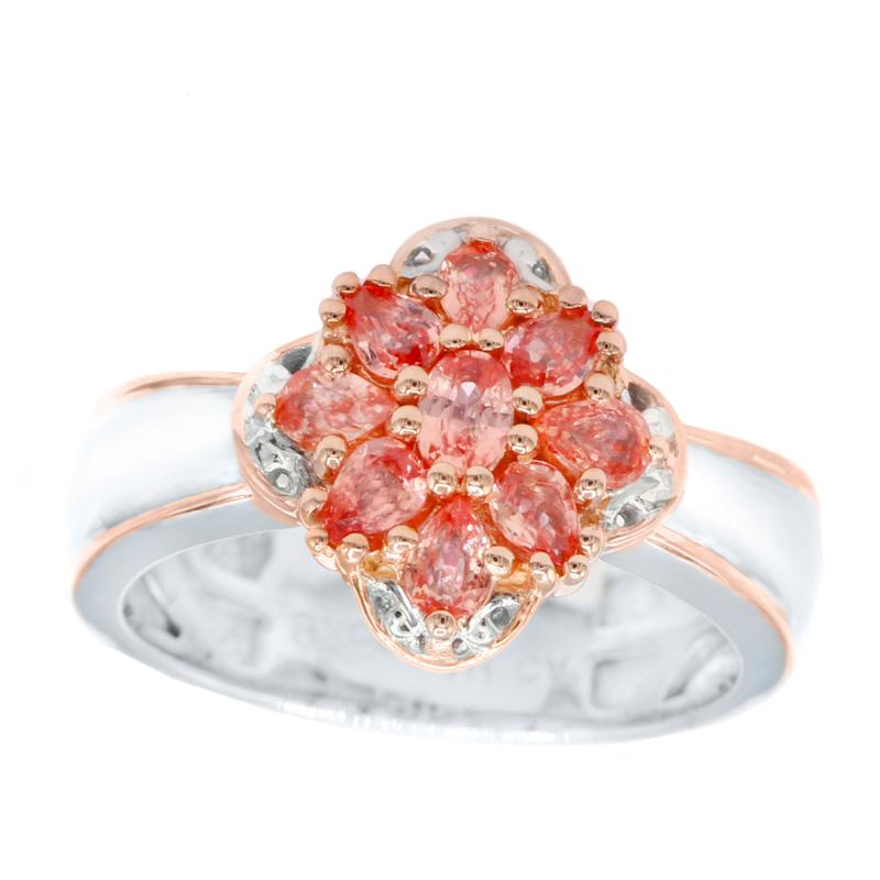 Gems by Michael 18K Rose Goldtone Padparadscha Sapphire Cluster Ring