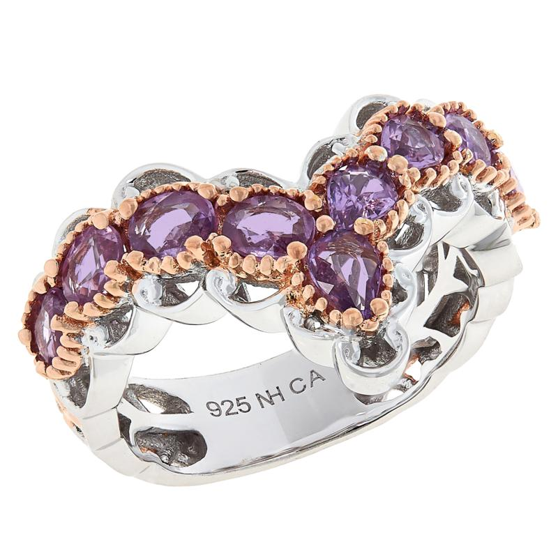 Gems by Michael Pink or Purple Sapphire V-Shape Band Ring