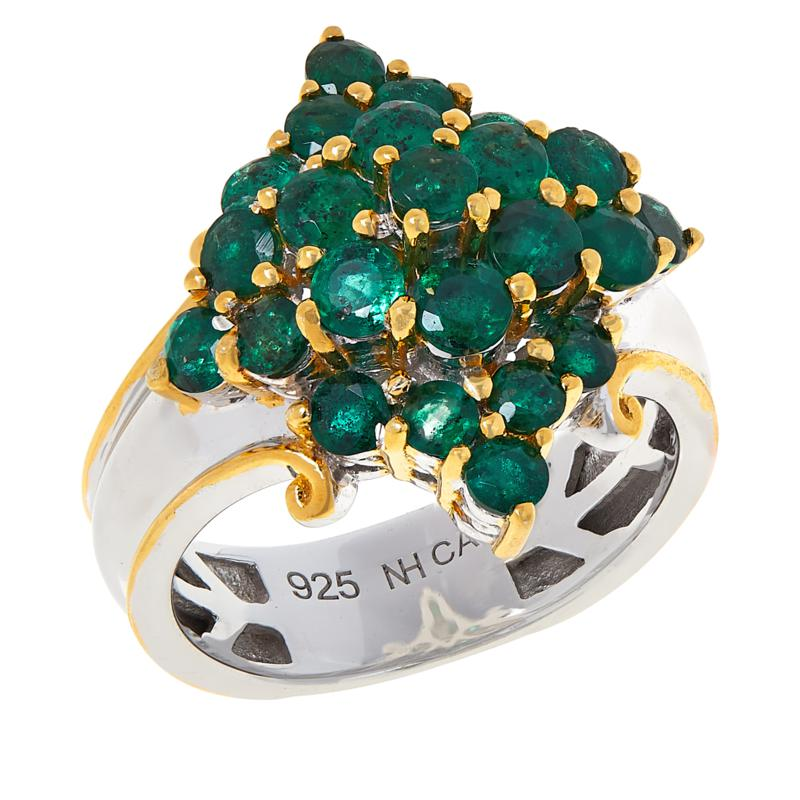 Gems by Michael Sterling Silver Gold-Tone Accent Emerald Cluster Ring
