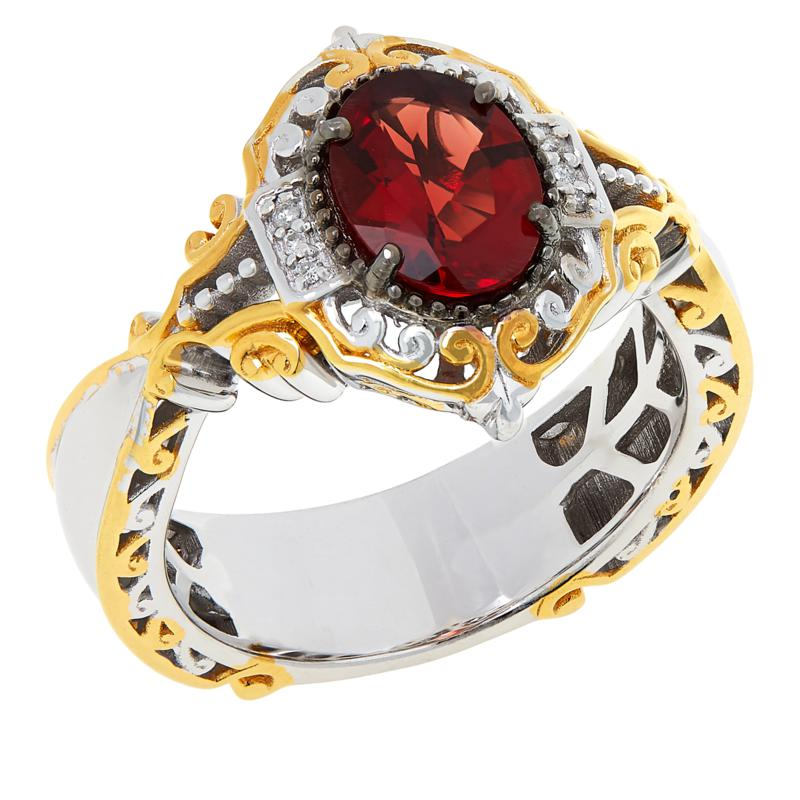 Gems by Michael Sterling Silver Orange-Red Labradorite & Diamond Ring