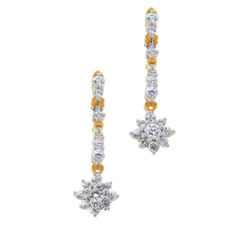 Gems by Michael Sterling Silver White Zircon Drop Earrings